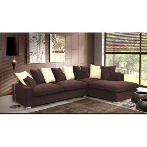 meublesline canap d 39 angle 5 places luxe tissu chocolat beige marron beige 228cm x 100cm x. Black Bedroom Furniture Sets. Home Design Ideas