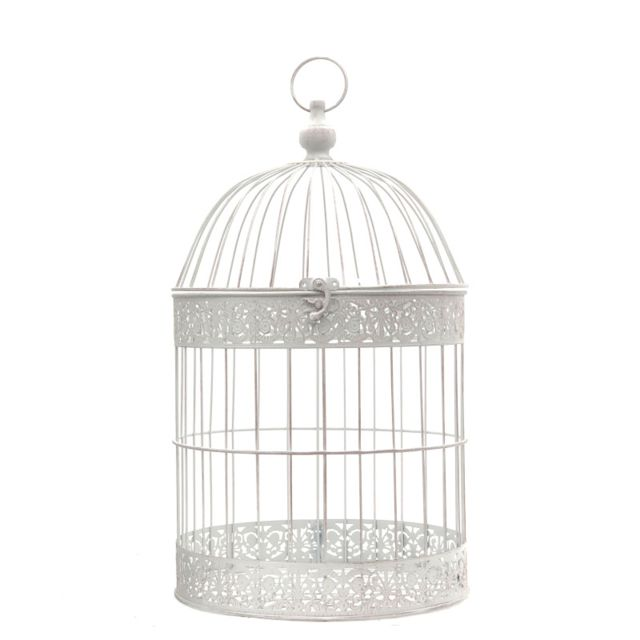 L'ORIGINALE Deco Cage Oiseaux Bougie Ronde Blanc 54 cm x ø30 cm