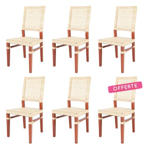 Rotin Design Destockage 50 Lot De 6 Chaises Emy En Rotin Miel