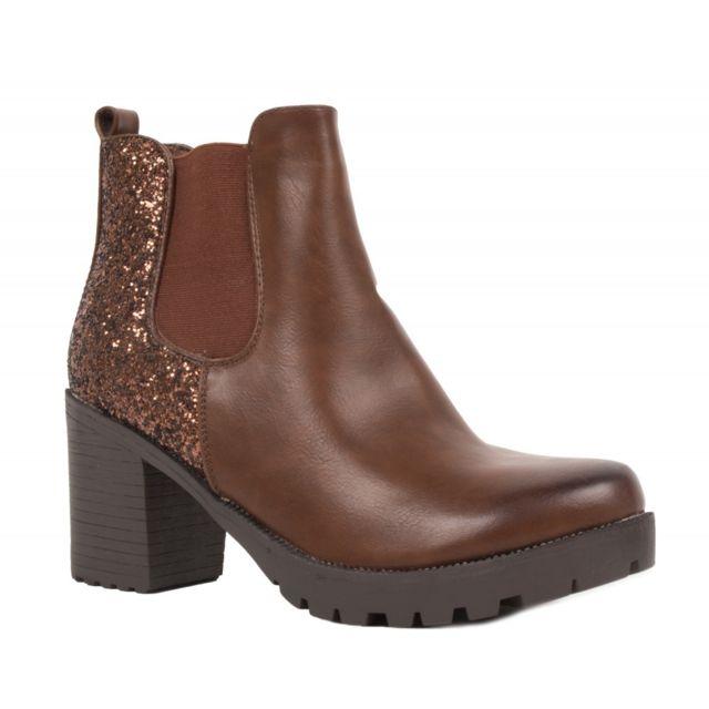 41f78968a7c9f Primtex - Boots chelsea femme noir à talon épais - bottines à paillettes en  simili cuir