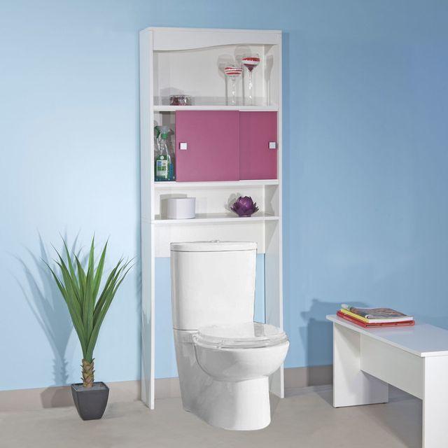 Meuble wc bois avec 2 portes coulissantes et 2 niches Meuble haut wc castorama
