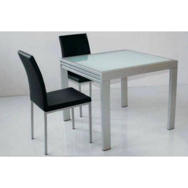 Inside 75 Table repas extensible Space en verre piétement aluminium 120 cm