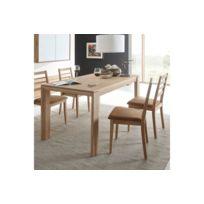 HELLIN - Table à manger extensible FILIGRAME en bois massif, finition chêne naturel