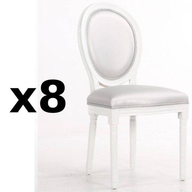 Inside 75 Lot de 8 chaises médaillon Versailles style