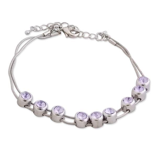 Totalcadeau - Bracelet cordelettes aux 9 bijoux en faux cristal mauve bijou  fantaisie pas cher Acier 6d0437f67d1f
