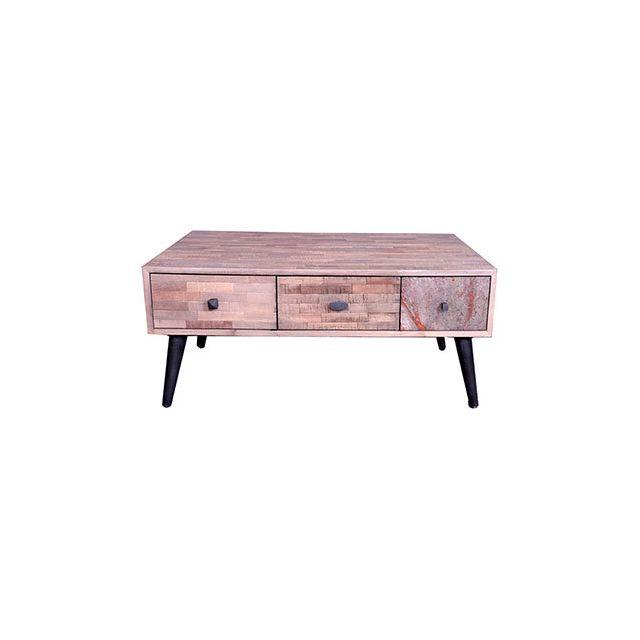 Table Basse St Gervais 6 Tiroirs 90x65xH40cm en teck recyclé