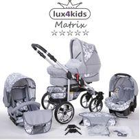 LUX4KIDS - Matrix II VIP Poussette Combinée 3 en 1 Roues pivotantes Nacelle Siège Auto Poussette Canne 64 graphite & fleurs graphite