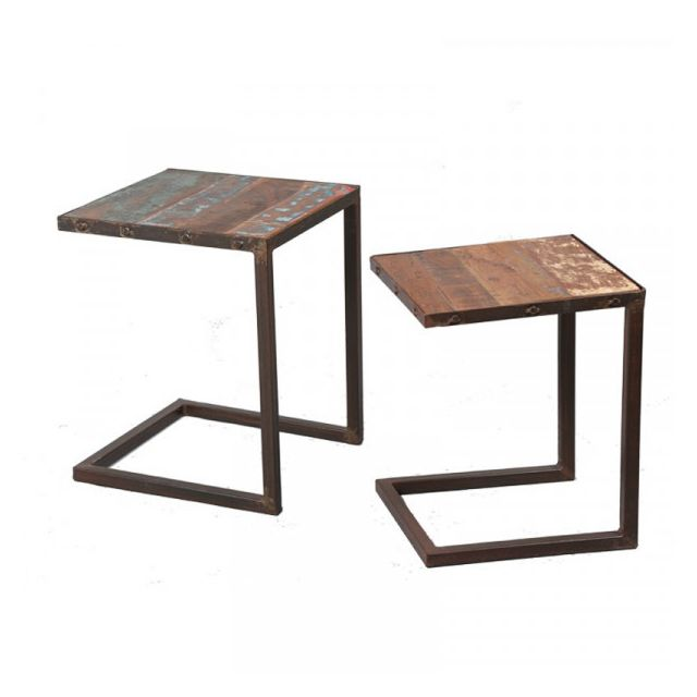 Dansmamaison Lot de deux tables gigognes Métal/Bois - Crib - L 40 x l 40 x H 50 cm
