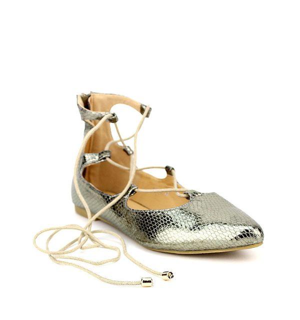 Cendriyon - Ballerine Montante Dorée Catchana Fashion