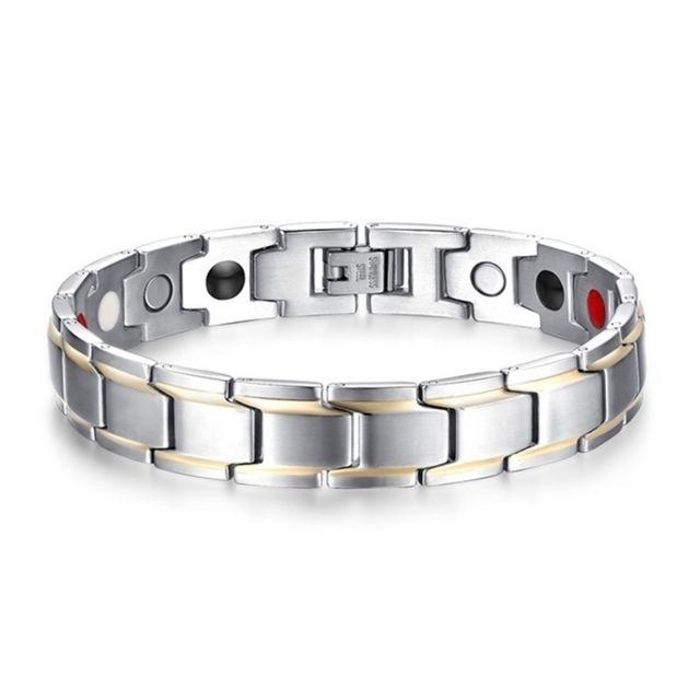 nouveaux styles 43e5f 73da2 Bracelet or et argent L'Europe l'Amérique Style Mode Hommes Bijoux En Acier  Inoxydable + Plaqué Magnétique Santé, Taille: 12mm 22cm