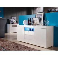 Vente-unique - Buffet Mercure - Mdf laqué blanc - Leds - 2 portes & 3 tiroirs