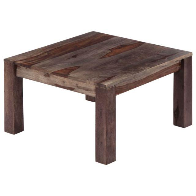 Icaverne - Tables basses categorie Table basse Gris 60 x 60 x 35 cm Bois de Sesham massif