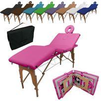 Linxor - Table de massage pliante 4 zones en bois avec panneau Reiki + accessoires et housse de transport