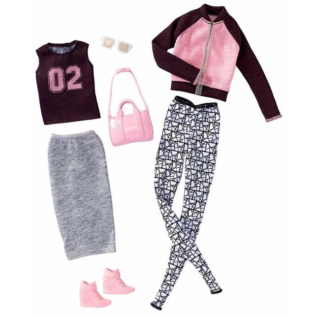Otto - Set de 2 Habits Barbie   Tenue Jogging Et T-shirt Noir Et ... 76eea0d6265b
