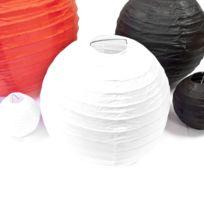 Visiodirect - Boule décoration de salle en papier coloris Blanc - Diam : 20 cm