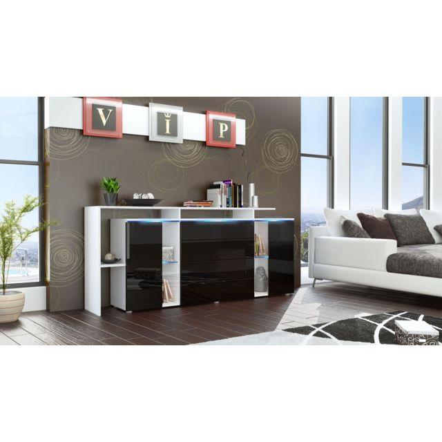 Mpc Buffet design vitré blanc et noir avec led 185 cm
