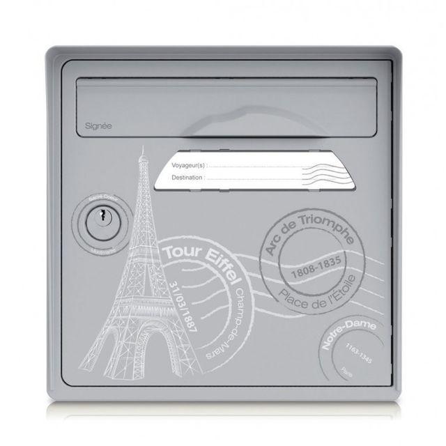 signee bo te aux lettres 1 porte paris est belle gris pas cher achat vente bo te aux. Black Bedroom Furniture Sets. Home Design Ideas