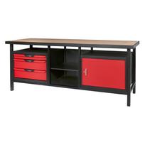 Ks Tools - Etabli professionnel d'atelier 1 porte et 3 tiroirs, L.2m 865.0210