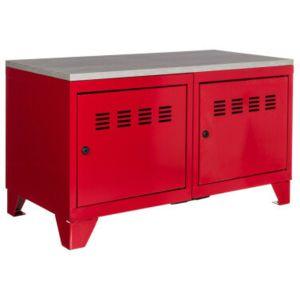 pierre henry meuble bas industriel m tal rouge pas cher achat vente armoires rueducommerce. Black Bedroom Furniture Sets. Home Design Ideas