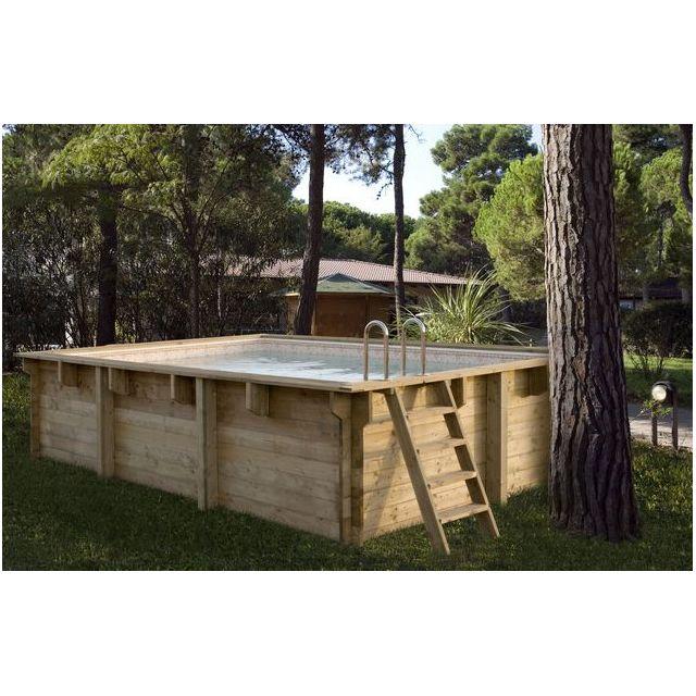 Spark - Kit Piscine Bois Hors Sol Rectangulaire Luxe 425 x 325 x 130 ...