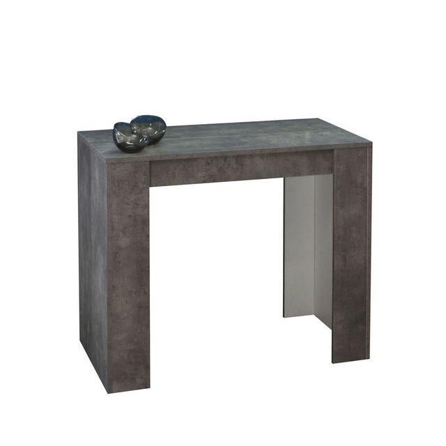 Table Console Extensible Bois.Table Console Extensible En Bois De 49 A 198cm Practica Beton