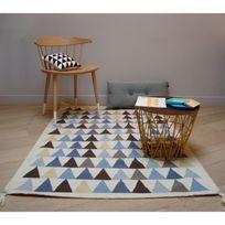 Art For Kids - Tapis Triangles Bleu chambre Garçon - Couleur - Bleu, Taille - 110 / 160 cm