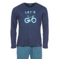 """Arthur - Pyjama long en coton : tee-shirt manches longues col V bleu marine à imprimé """"Let's"""" et pantalon bleu marine à motifs vélos"""