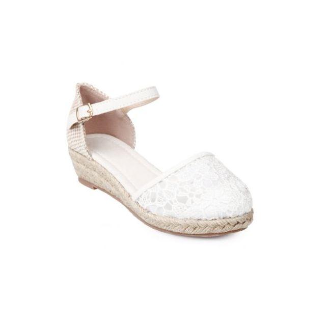 019fd5e56a1438 La Modeuse - Espadrilles enfant compensées avec bride blanc - En Soldes
