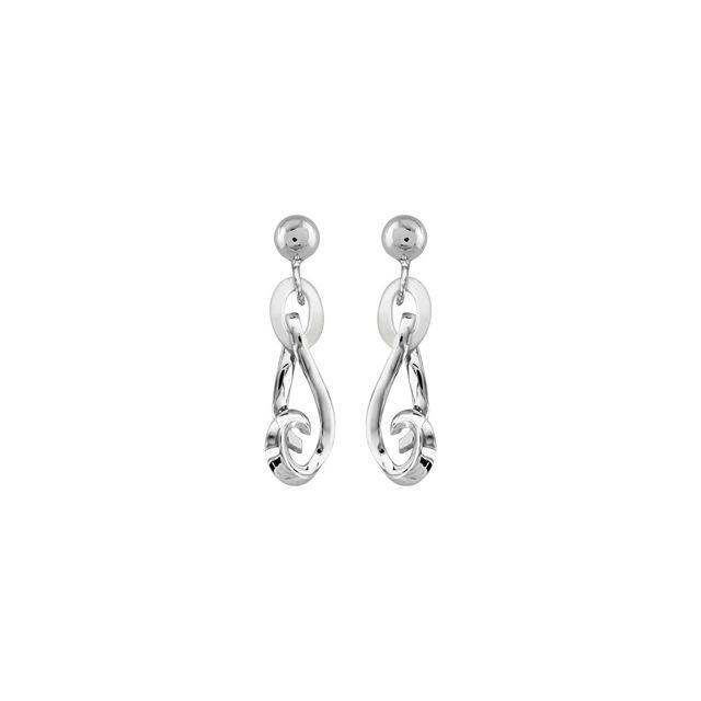1001BIJOUX - Boucles d oreille tige argent rhodié pendante nacre blanche 1cac4aced01c