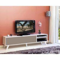 Symbiosis - Meuble Tv bas en bois avec 1 abattant et 2 niches Prism