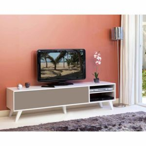 symbiosis meuble tv bas en bois avec 1 abattant et 2 With superb meuble cuisine couleur taupe 5 meuble tv bas en bois avec 1 abattant et 2 niches prism