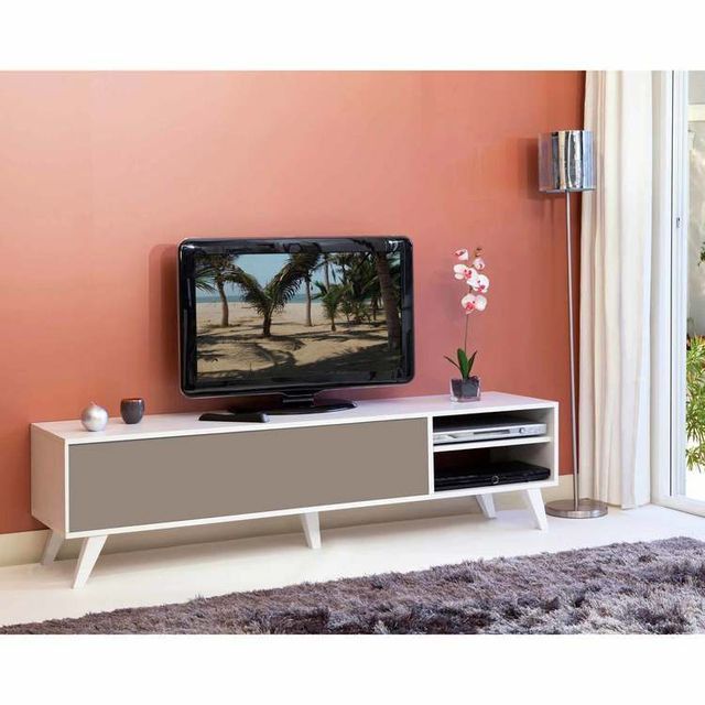 symbiosis meuble tv bas en bois avec 1 abattant et 2. Black Bedroom Furniture Sets. Home Design Ideas