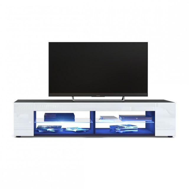 Mpc Meuble Tv Corps Noir Mat Façades En Blanc Laquées Led Bleu