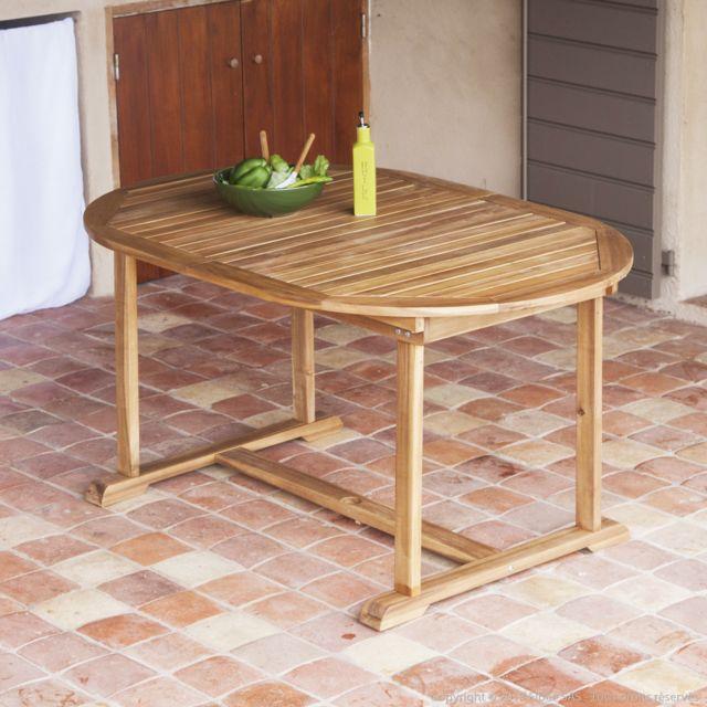 GreenPath - Table de jardin ovale à rallonge en Acacia 148 ...