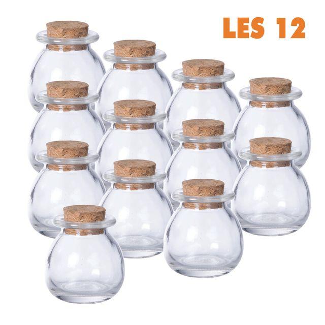 marque generique lot de 12 mini pots ronds d co de table bouchon li ge transparent 5cm x 5cm. Black Bedroom Furniture Sets. Home Design Ideas