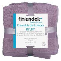 Finlandek - Bain - Finlandek Lot de 1 drap de douche + 1 serviette de toilette + 2 serviettes de coiffure Kylpy Mauve