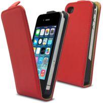 Coquediscount - Etui clapet Simili Cuir Rouge iPhone 5/5S