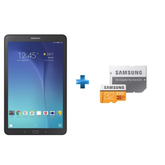 Samsung Galaxy Tab E 9 6 8 Go Noir Carte Micro Sdxc Evo 32 Go Mp32ga Eu Pas Cher Achat Vente Tablette Android Android Rueducommerce