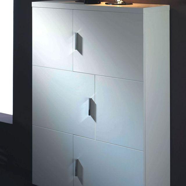 cubisl meuble rangement laqu blanc brillant 80x29x128 lunit