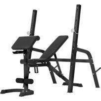 Gorilla Sports - Banc de musculation avec repose-barre séparé Noir ou Blanc - Noir