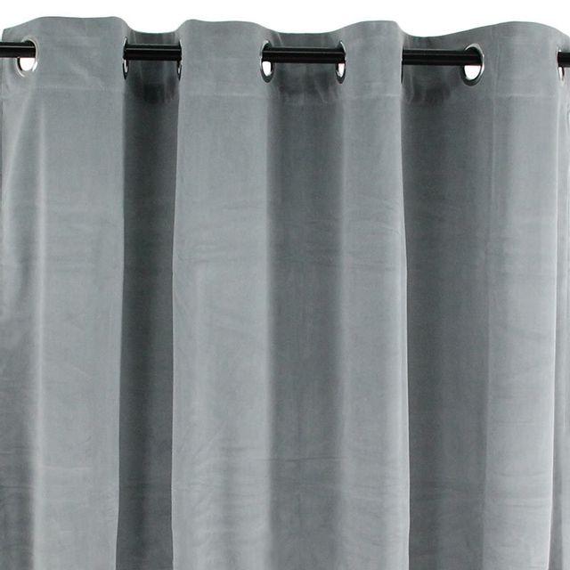 Mon Beau Tapis - Rideau à oeillets en velours gris clair 140x250cm Velvet