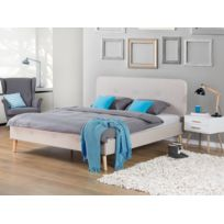 Beliani - Lit en tissu - lit double 180x200 cm - beige - sommier inclus - Rennes