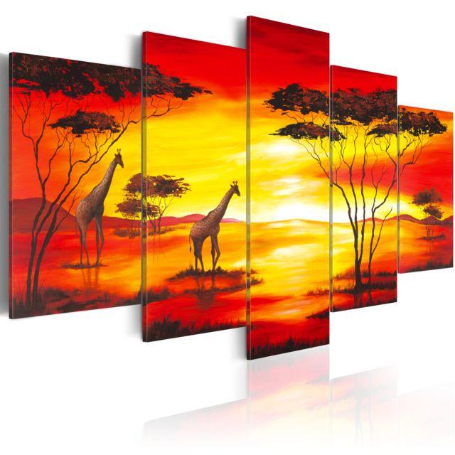 Declina Tableau Girafes au coucher du soleil pas cher