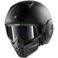 casque jet moto scooter Drak Raw Blank Matt Kma noir mat S