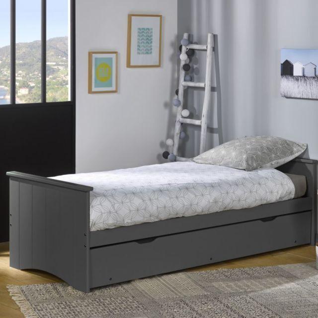 ebac lit gigogne 80x190 bois gris pas cher achat vente lit enfant rueducommerce. Black Bedroom Furniture Sets. Home Design Ideas