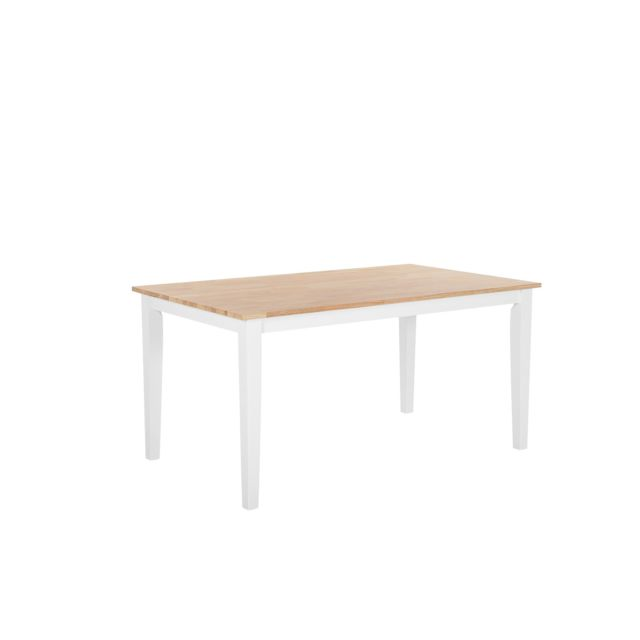 BELIANI Table 150 x 90 cm marron clair/blanc GEORGIA - blanc