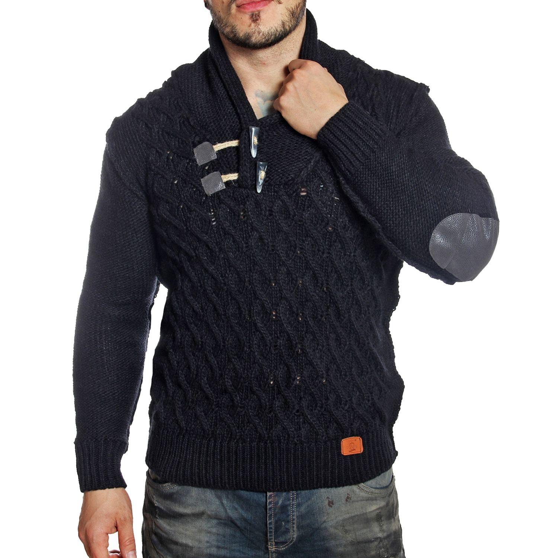 eaf8efcb9947 YOUNG AND RICH- Pull homme à coudières col châle noir