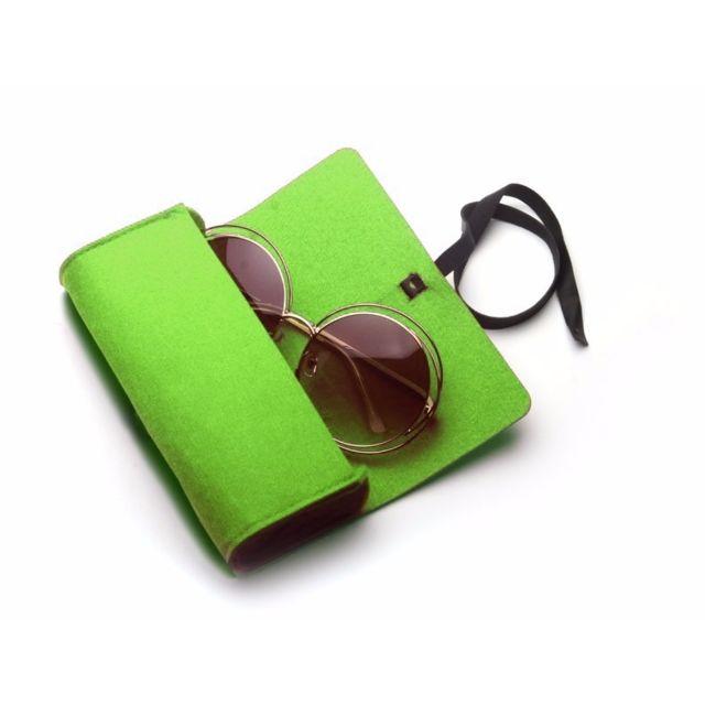 ... Wewoo - Pour lunettes de soleil   vert verres Feutre étui de protection  à glissière ... 549d3a230c9e