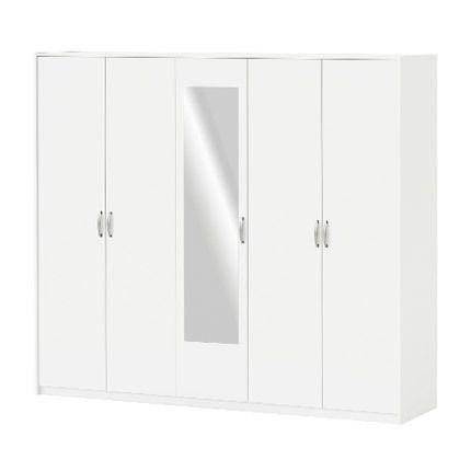Armoire 5 portes et 1 miroir blanc - Marta