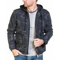 Republic Denim - Veste jogg jeans homme noire camouflage zippée